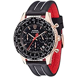 Detomaso Firenze Men's Quartz Watch with Rose Gold/Black Forza Di Vita Chronograph Quartz Leather SL1624 °C RG