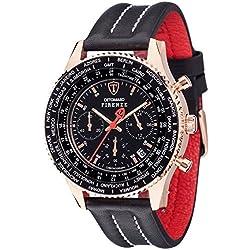 Detomaso Firenze Men's Quartz Watch with Rose Gold/Black Forza Di Vita Chronograph Quartz Leather SL1624°C RG