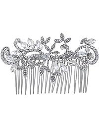 LUX Zubehör Silber Ton Kristall Strass Ebnen Swirl Design Haar Kamm