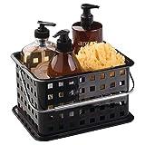 InterDesign Basic Aufbewahrungkorb, kleiner Badkorb aus Kunststoff für Dusch- und Pflegezubehör, schwarz