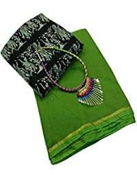 SilverStar Women's Green Color Chanderi Cotton Plain Saree With Radha Krishna Kalamkari Printed Benglori Silk...