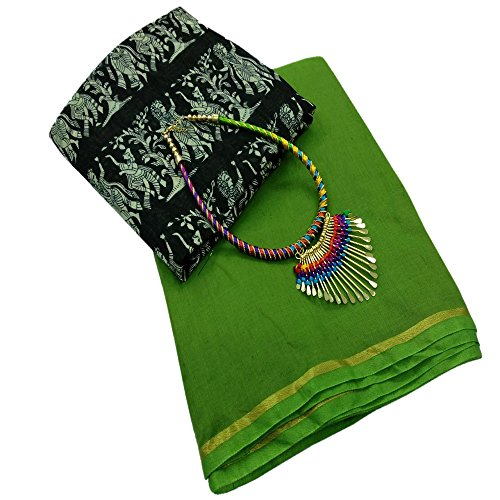 Deepjyoti Creation Women's Green Color Chanderi saree With Blouse Piece And Nacklace