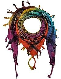 Freak Scene Superfreak® Pañuelo pali con estampado de estrellas°chal PLO°100x100 cm°Pañuelo palestino Arafat°100% algodón – multicolor1/negro