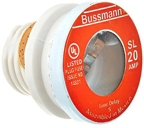 Sl Plug Fuse (Bussmann SL-20 20 Amp Time Delay Loaded Link Rejection Base Plug Fuse, 125V UL Listed, 4-Pack by Bussmann)