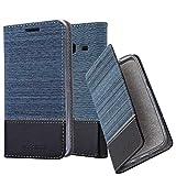 Cadorabo Hülle für Samsung Galaxy J1 Mini 2016 (6) - Hülle in DUNKEL BLAU SCHWARZ – Handyhülle mit Standfunktion und Kartenfach im Stoff Design - Case Cover Schutzhülle Etui Tasche Book