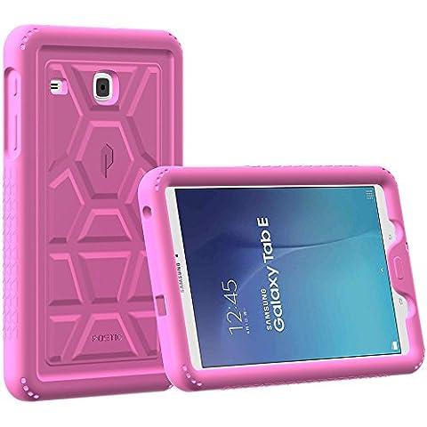 Funda Galaxy Tab E 9,6 - Poetic [Serie Turtle Skin] Funda Galaxy Tab E de 9,6 - [Protección Esquina/Parachoques] [Amplificación de Sonido] Funda Protectora de Silicón para Samsung Galaxy Tab E 9,6 Rosa (3 Años Garantía del Fabricante Poetic)