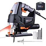 Jigsaw Tools 800W, Electric Jigsaw Tacklife PJS02A Laser Jigsaw, 6 Speed Regulation with 6 Replaceable Blades for Various Materials Cutting, Compact Jigsaw, Metal Guide Ruler for Accurate Cutting