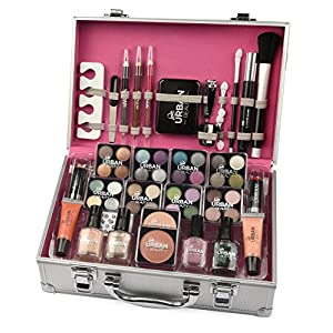 LOVE URBAN BEAUTY Dazzling Makeup Case – 60-Piece Makeup and Nail Set for Teenagers – Elegant Silver Box – Compact and…