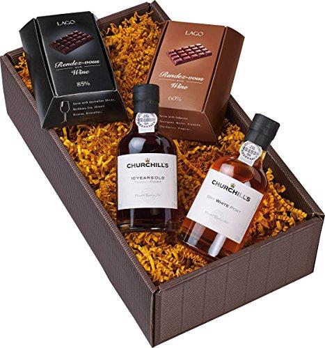 Geschenkset Portwein-Duo (2 x 0.2 l) mit Schokolade (2 x 90 g)