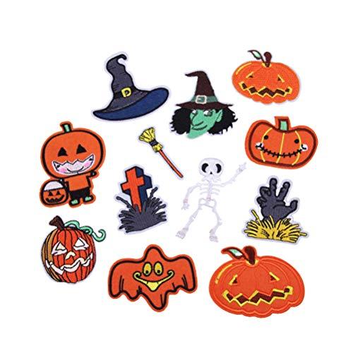 uf Patches Kürbis Ghost Form gestickte Patches Applique Motiv annähen Patches für Halloween Kostüm Dekoration ()
