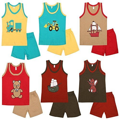 Cherry Blossom Boy's Cotton T-Shirt and Trouser Set (Red_12-18 Months) - Pack of 6