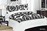 3 pcs Quilted White Bedspread Royal Damask King Size Bedspread Set Comforter throw White Black