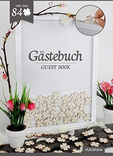 Spetebo Hochzeit Gästebuch mit 84 Kleeblättern - Hochzeits Deko Holz Rahmen - Gästebuch...