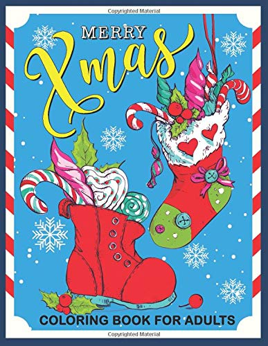 Merry Xmas Coloring Book for Adults: Christmas Collection for Stress Relieving