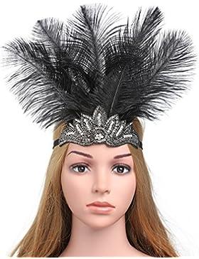 BABEYOND Carnaval Negro diadema tocado de plumas de cristal Accesorios para el cabello partido del desfile de...