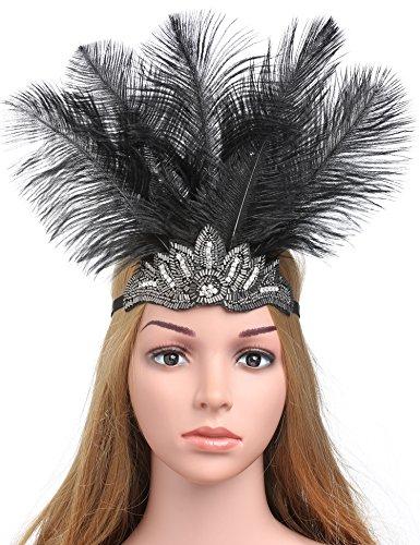 Coucoland Damen 1920s Stirnband Feder Great Gatsby Kostüm Fasching Accessoires 20er Jahre Flapper Feder Haarband (Silber Strass)