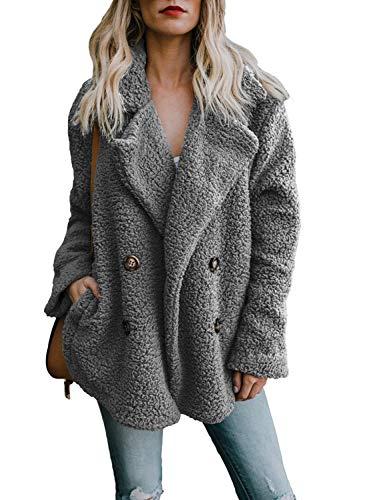 Orandesigne poncho cappotto donna invernale vintage elegante giacca di pelliccia ecologica cape mantella collo alto cappotti grigio it 42