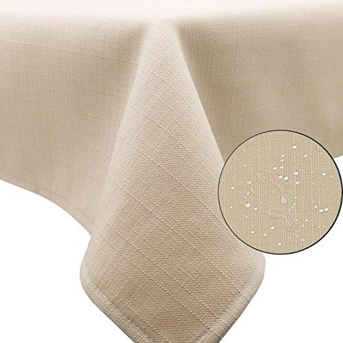 ZOLLNER® Mantel antimanchas grande / mantel rectangular resinado, color sahara, medidas 140x180...