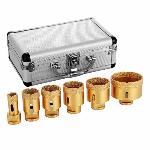 BuoQua Sega A Tazza Diamantate Set Di 6 Frese A Tazza Diamantate Professionale Rivestimento Di Dimante 0.8 1.4 1.6 1.8 2 2.7Inch