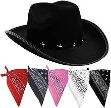 Disfraz de vaquero con juego de accesorios. sombrero negro de vaquero con estrella, banda tachonada y bandana estampada colorada. sheriff del salvaje oeste con bandana de ILOVEFANCYDRESS®