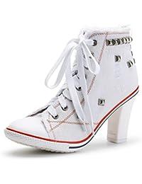 c545ca2cf3ef OCHENTA Femme Bottine Basket Talon Bloc Hauteur 8cm Lacets en Toile  Sneakers Cheville