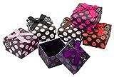 Kleenes Traumhandel 24x Bunte Geschenkboxen - 5x5x3,5cm - Gepunktet mit Schleife - Geschenkverpackungen für Schmuck