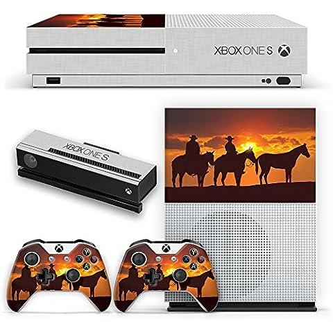 Rodeo 005, Cowboys e Cavalli, Skin Autoadesivo Sticker Adesivi Pelle Cover Decal Set con Disegno Strutturato con XBOX ONE S BIANCO