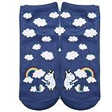Gluckliy Women's Girls Unicorn Print Low Ankle Socks Funny Unicorn Cute Novelty Happy Socks Sport Socks (Style 1)