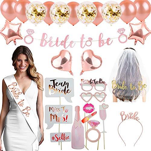 DANXIAN Junggesellenabschied Frauen JGA Accessoires Deko, Bride to Be Banner, Schleier, Schärpe, Tiara, Luftballons, Party Photo Booth-Requisiten
