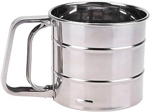 Rrimin Handheld Flour shaker Stainless Steel Mesh Sieve Cup Icing Sugar Bake Tool
