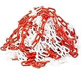 [ JBS basics ] Absperrkette rot/weiß [ 10 Meter lang ] Kunstoffkette Warnkette [ 6mm Glieder ] Parkplatzsperre Kette [Deutscher Händler] Sicherungskette Parkplatzkette