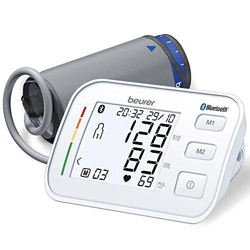 Beurer BM 57 Bluetooth Oberarm-Blutdruckmessgerät, digitales Blutdruck- und Pulsmessgerät mit kostenloser Diagnose App