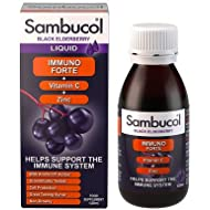 Sambucol Natural Black Elderberry Immuno Forte with Vitamin C; Zinc; immune system booster; cold and flu remedy for the family - 120ml liquid