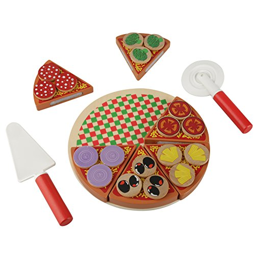 Amojor Wooden Veg Pizza Food DIY Toys Set Role Play Toys for Children Kids Learning & Educational Gift