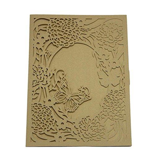skarte,Jaminy 1Pcs Zart Geschnitzt Romantisch Hochzeitsfeier Einladungskarte Umschlag Namenskarten Namensschilde Einladung 13X19cm (Gold) (Cowboy-thema Hochzeit)