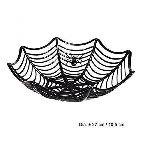 Lively Moments Halloween Dekoschale in Spinnenweben - Optik in schwarz / Süßigkeitenschale / Tischdeko Halloweenschale