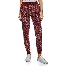 oodji Ultra Mujer Pantalones de Punto con Cordones, Rojo, ES 36 / XS