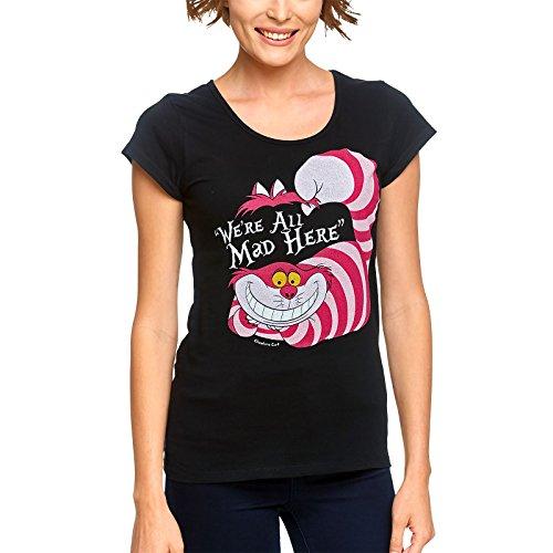 Alice im Wunderland Disney Damen T-Shirt Grinsekatze Baumwolle schwarz - S