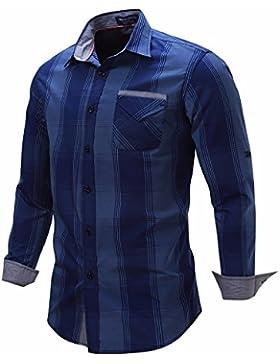 Hombres camiseta fuera de la camiseta de manga larga camisetas de algodón/grid, blue jeans y una ,M