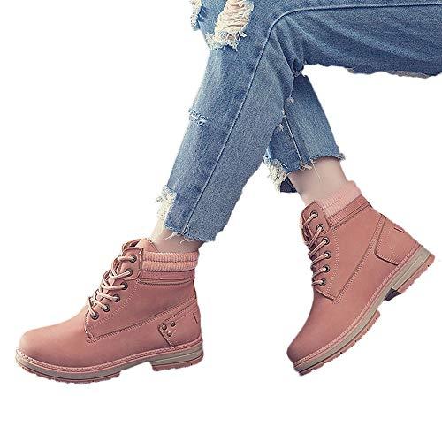 TianWlio Boots Stiefel Schuhe Stiefeletten Frauen Herbst Winter Feste Schnürstiefel Lässige Stiefeletten Runde Zehen Schuhe Student Schneestiefel Weihnachten Rosa 36