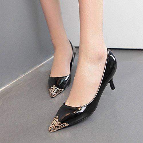GS~LY Fait de métal talons aiguilles chaussures asakuchi chaussures Black