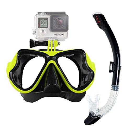 Schnorcheln Maske Set, obosoe Anti-Fog Tauchen Maske mit GoPro Kamera Adapter Design für Hero HD, Session, Xiaomi Yi Action Kamera – Gelb (Gesicht Teardrop)