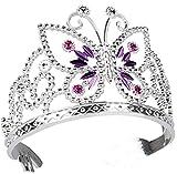 Diadem Krone silber lila für Prinzessin-Kostüm | elegantes Krönchen für Königin-Kostüm | Karnevals-Zubehör für Mittelalter-Kostüm | für Prinzessinnen & Königinnen-Kostüme | Karneval & Fasching
