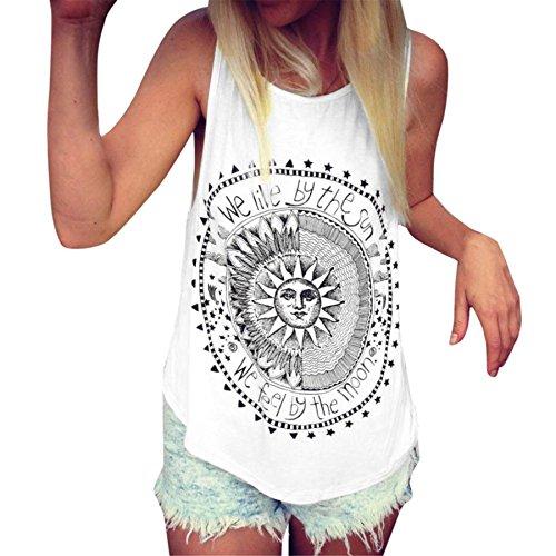 Damen 1 ärmel Roll-up-shirts 2 (BURFLY Frauen Weste, Sun Gedruckt Ärmellose Bluse Freizeithemd Sommer Tank Tops Weste für Damen Teenager Boho Ärmellose O-Ausschnitt Baumwolle Ärmellose Tops (L, White))