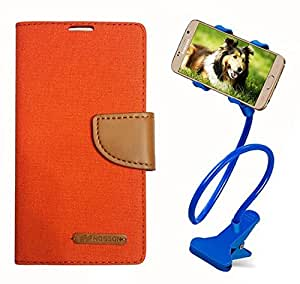 Aart Fancy Wallet Dairy Jeans Flip Case Cover for Apple4G (Orange) + 360 Rotating Bed Moblie Phone Holder Universal Car Holder Stand Lazy Bed Desktop by Aart store.