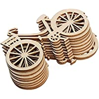 Westeng 10pcs Decoraciones de Madera Forma de Bicicleta Adornos de Madera DIY size 8.8*5cm