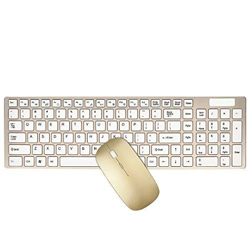 Tastatur und Maus Set, URCO Ergonomische Wenig Lärm Ästhetische tragbare 2,4-GHz-Wireless-Tastatur und Maus Set für Gaming und Arbeits (Luxuriös Gold) (Usb 85-key)