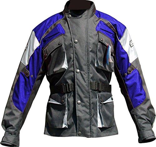 Prospo Marke Herren und Wasserdichte Racing Stilvolle Motorrad Jacke Gr. XXXXL, Schwanrz/Grau/Blau