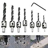 ROKOO 7 Stück Holzbearbeitung Senker Bohrer Fasen Schnellarbeitsstahl Bits mit Inbusschlüssel für Holz