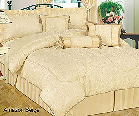 Amazon Quilted 7 Pieces Super King Beige Bedspread Modern Jacquard Luxury Comforter Complete Bedding Set Includes Comforter, Base Valance Sheet, Sham Pillow Cases, Cushions & Neck Rolll.